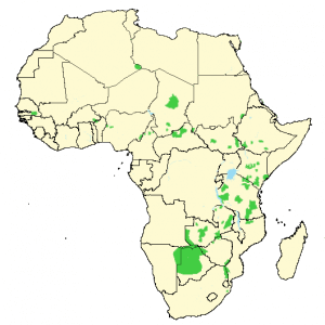 African Wild Dog - Lycaon pictus - Distribution Map