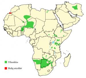 Gepard - Acinonyx jubatus - Utbredelse